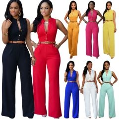 Women Summer Sleeveless Overalls Jumpsuit Harem Pants Casual Fashion Outfit