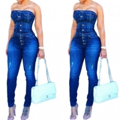 Strapless Single-breasted Cotton Blends One-piece Skinny Overall Jeans Jumpsuits
